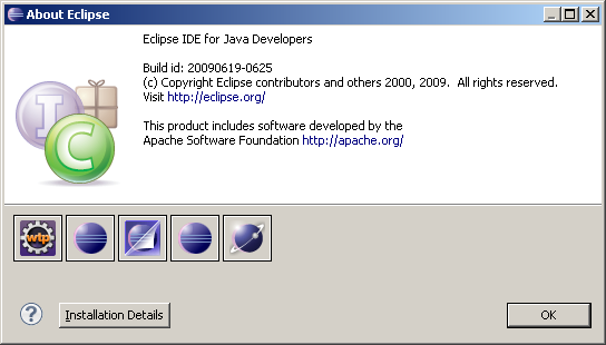 About Eclipse Dialog Box