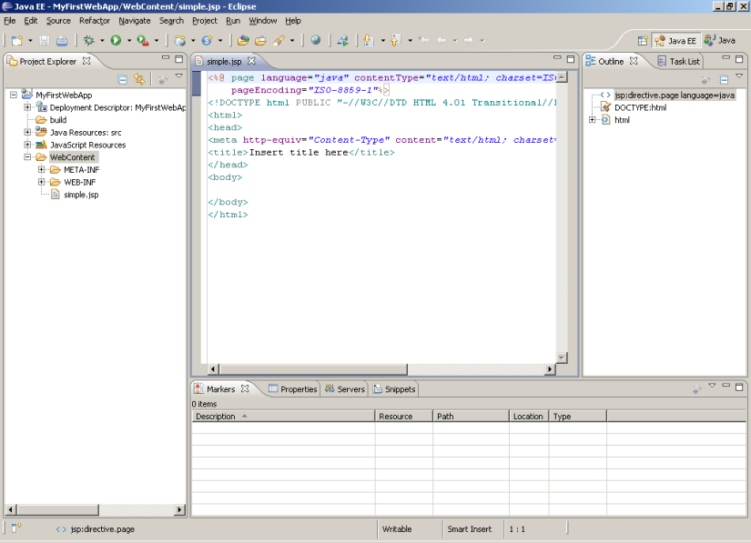 Eclipse workspace for JSP Editing