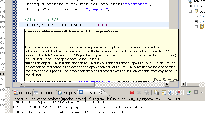 Screenshot of Eclipse displaying javadoc
